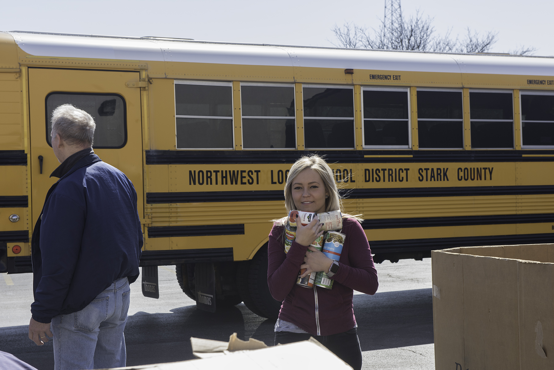 Bus Unloaded for Food Drive